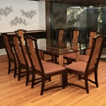"""Broyhill Premier """"Ming Dynasty"""" Collection Dining Chairs and Custom Glass Table"""