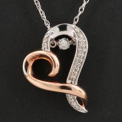 Hallmark Sterling Diamond Heart Pendant with Floating Diamond