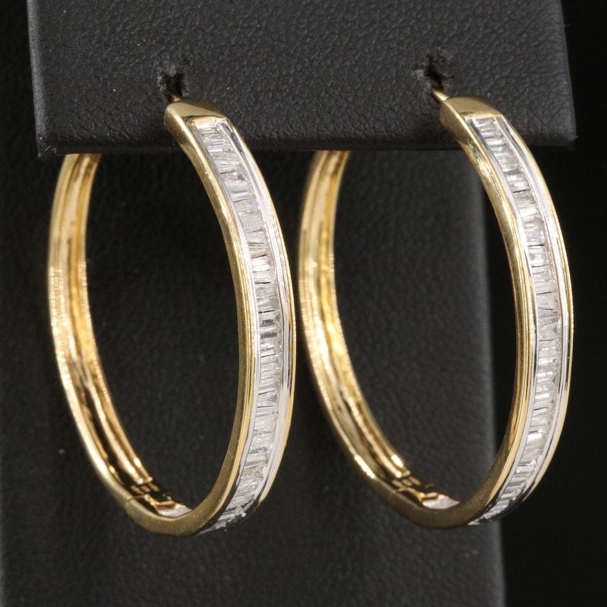 Sterling Silver 1.04 CTW Diamond Hoop Earrings
