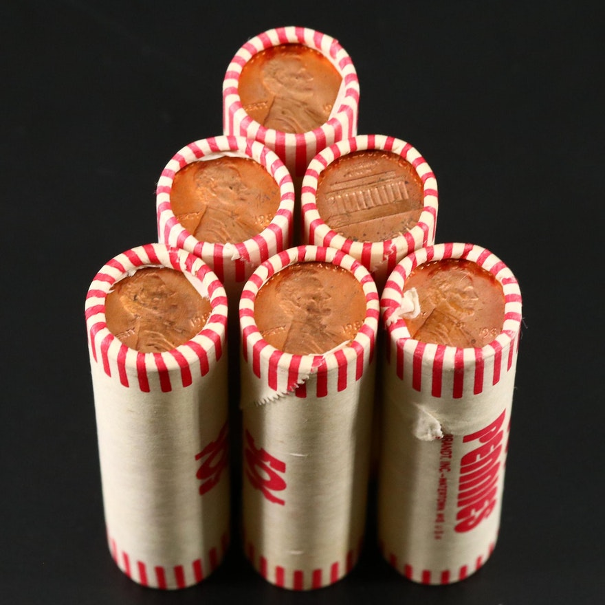 6 Rolls of Lincoln Memorial Cents, 1980s