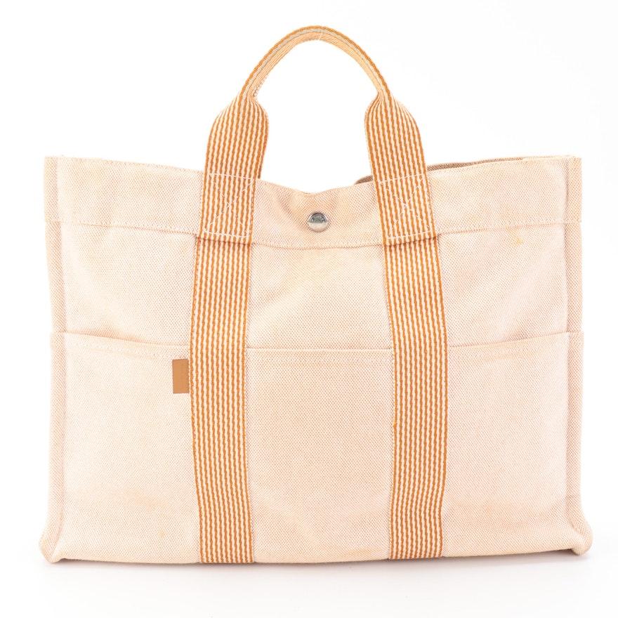 Hermès Fourre Tout MM Bag in Orange/Natural Canvas with Striped Web