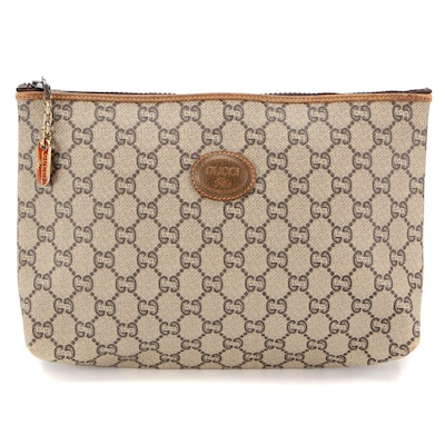 Gucci Plus Accessories Pouch in GG Plus Canvas with Brown Leather Trim
