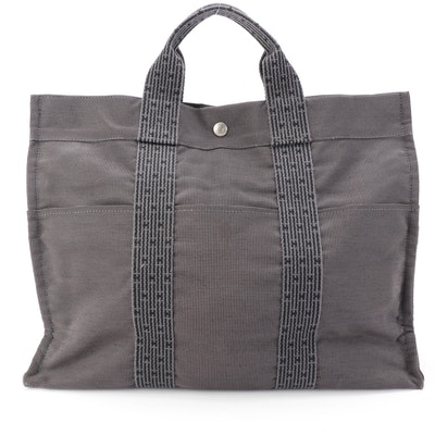 Hermès MM Tote Bag in Grey Canvas and Monogram Striped Web