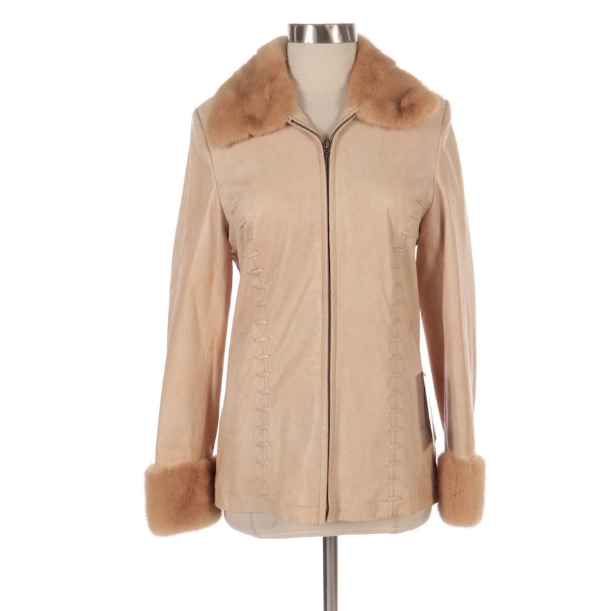 Leather Zip-Up Jacket with Mink Fur Trim by LaPaul Furs, New with Merchant Tag