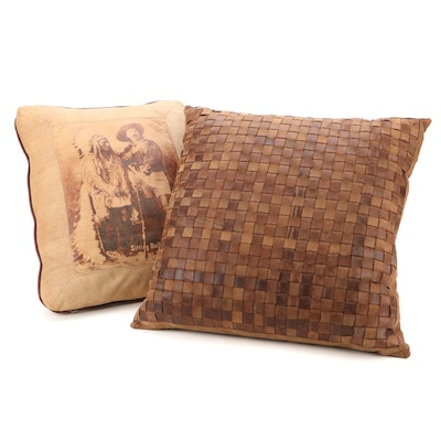 Restoration Hardware Leather Pillow with Wild West Themed Throw Pillow