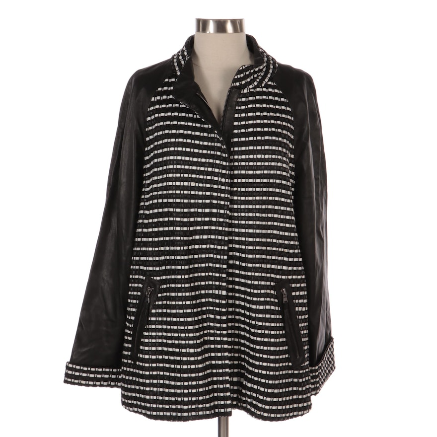 Leather Zip-Up Jacket with Horizontal Weave Detail, New with Merchant Tag