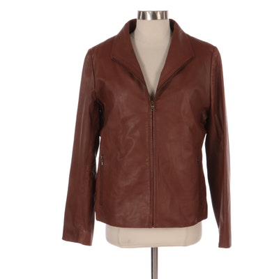 Brown Leather Zip-Up Jacket with Detachable Lining, New with Merchant Tag