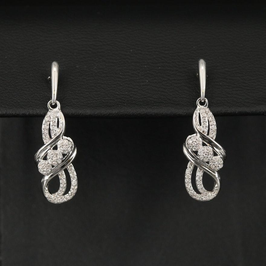 Sterling Silver Diamond Scroll Drop Earrings