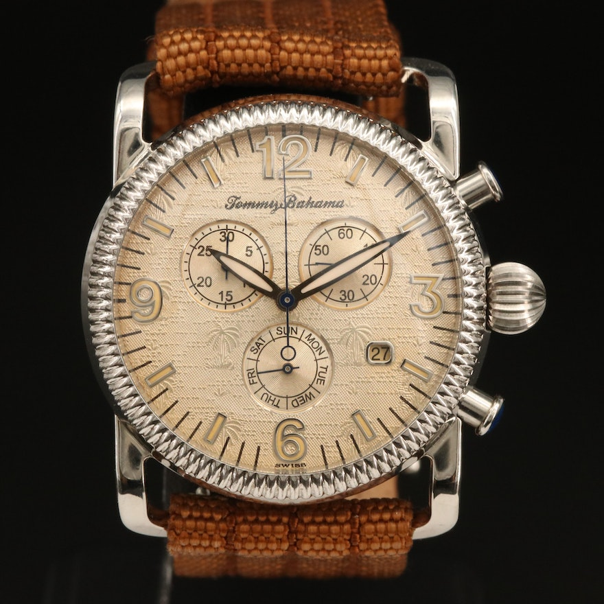 Tommy Bahama Stainless Steel and Sterling Silver Chronograph Wristwatch