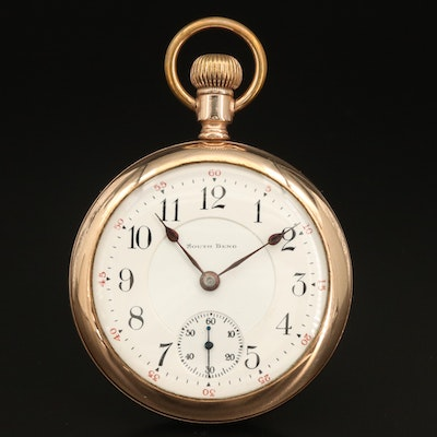1908 South Bend Gold Filled Open Face Pocket Watch