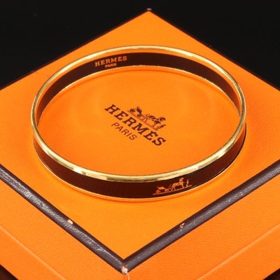 Hermès Narrow Caléche Emblem Enamel Bangle