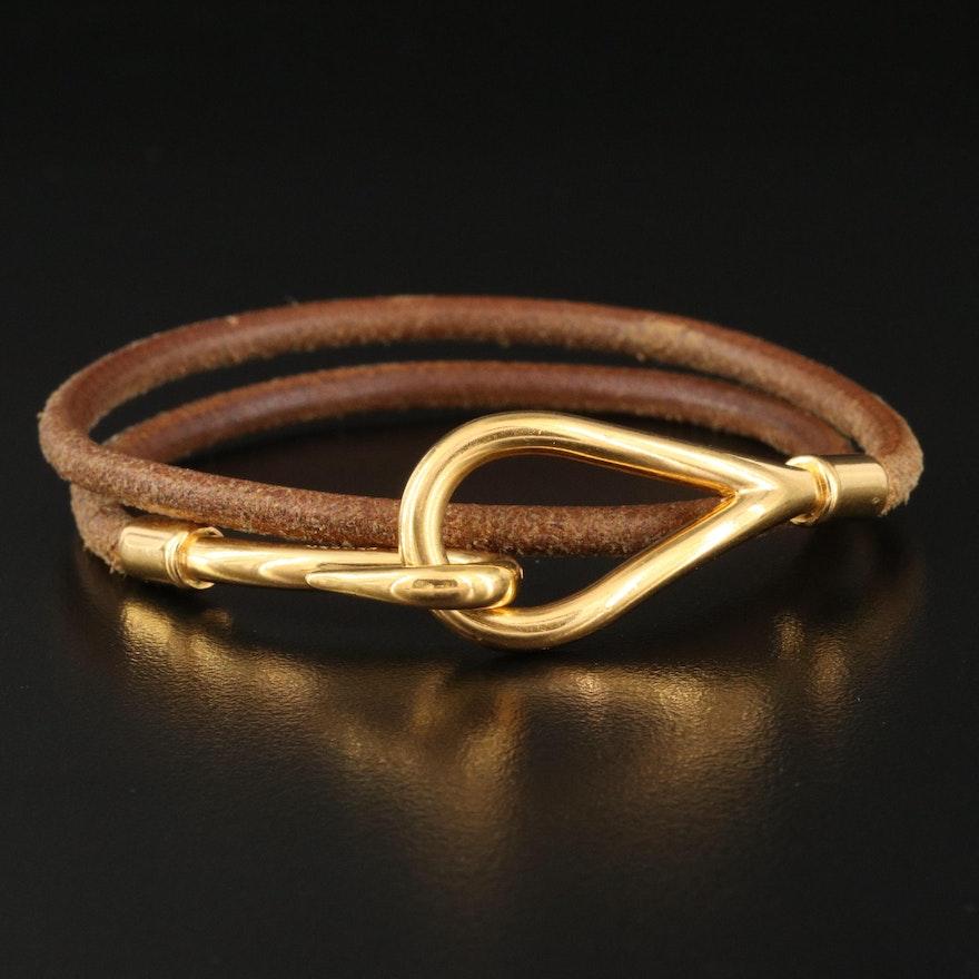 Hermès Jumbo Hook Double Tour Leather Bracelet