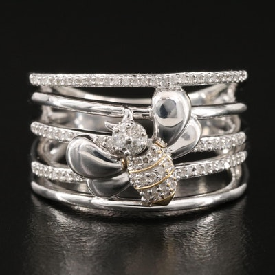 Sterling Silver Diamond Bee Ring with 10K Accent