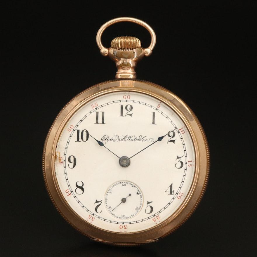 1896 Elgin G.M. Wheeler Gold Filled Open Face Pocket Watch