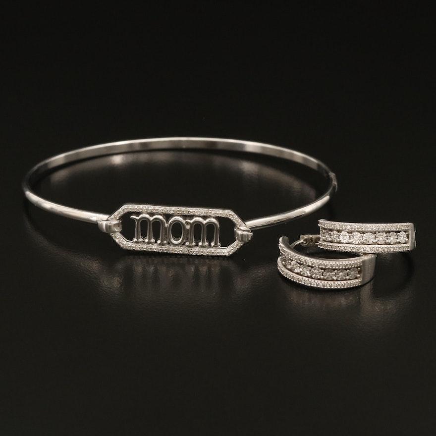 "Sterling Diamond Illusion Set Hinged Hoop Earrings and ""Mom"" Bracelet"