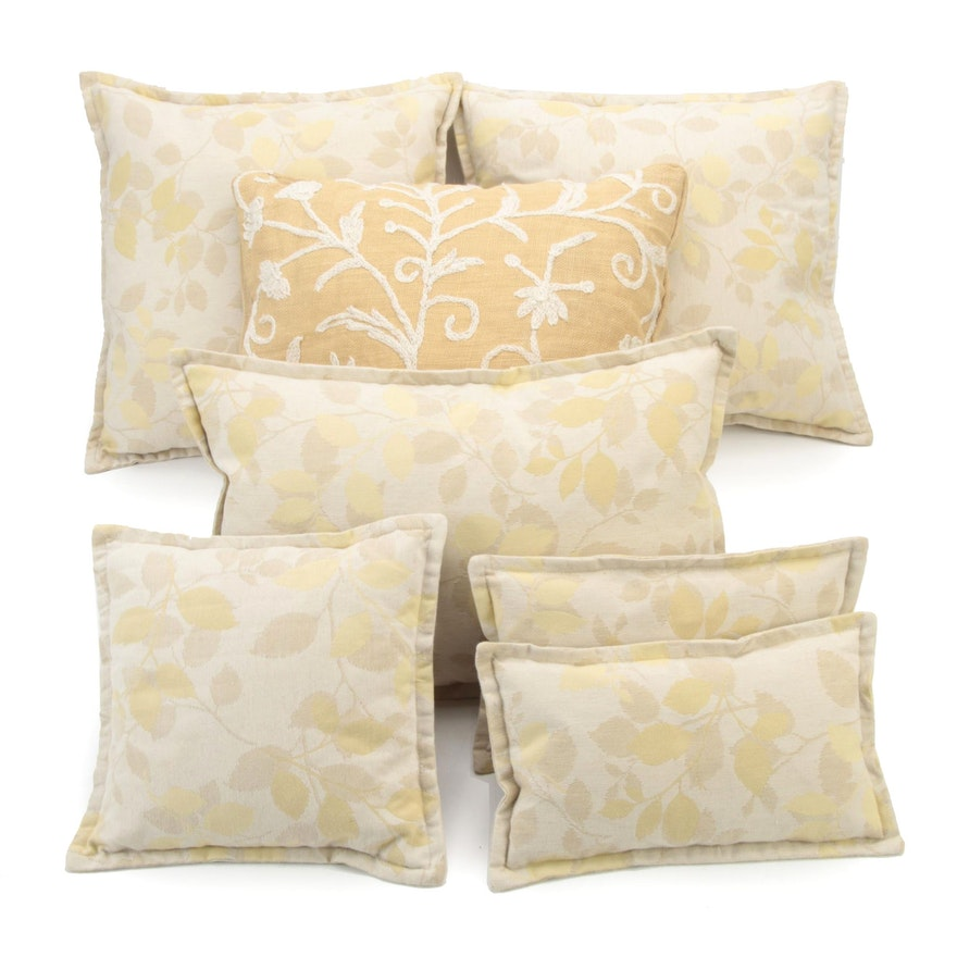 Ethan Allen Crewel Embroidered Jute Pillow with Other Throw Pillows