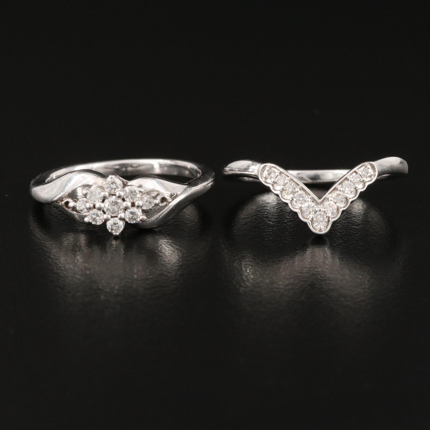 Sterling Diamond Floral Cluster and Chevron Rings