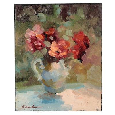 """Sally Rosenbaum Oil Painting """"Teapot of Flowers"""""""