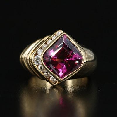 18K Rhodolite Garnet and Diamond Asymmetrical Ring with Fluted Shoulder