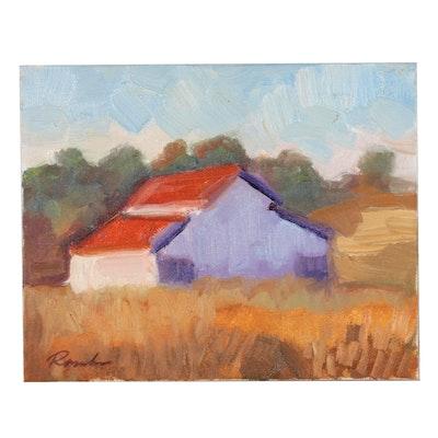 """Sally Rosenbaum Oil Painting """"Lakeville Barn"""""""