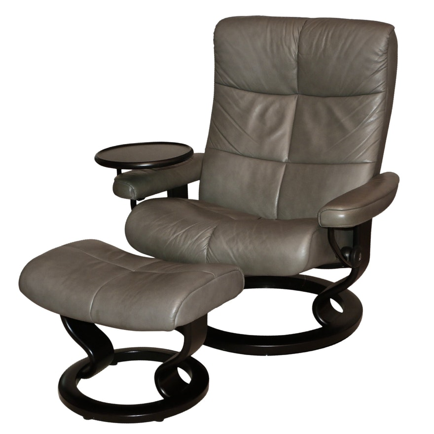 """Ekornes """"Stressless"""" Charcoal Leather and Wood Recliner and Ottoman"""