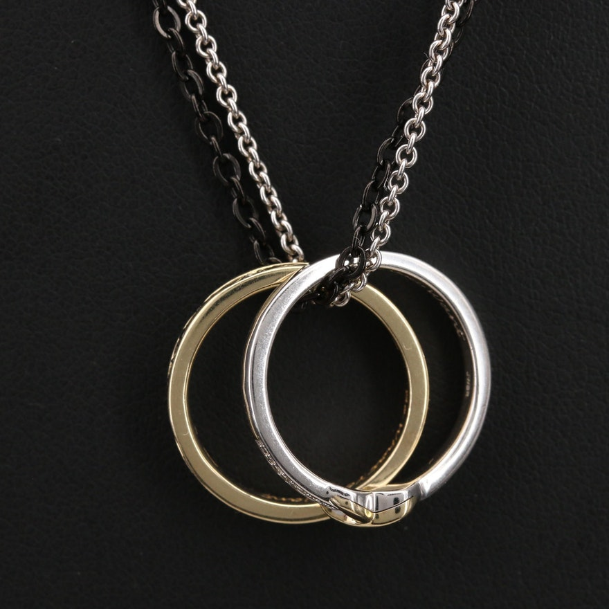 Ring Necklace Featuring Sterling, 10K and Diamonds