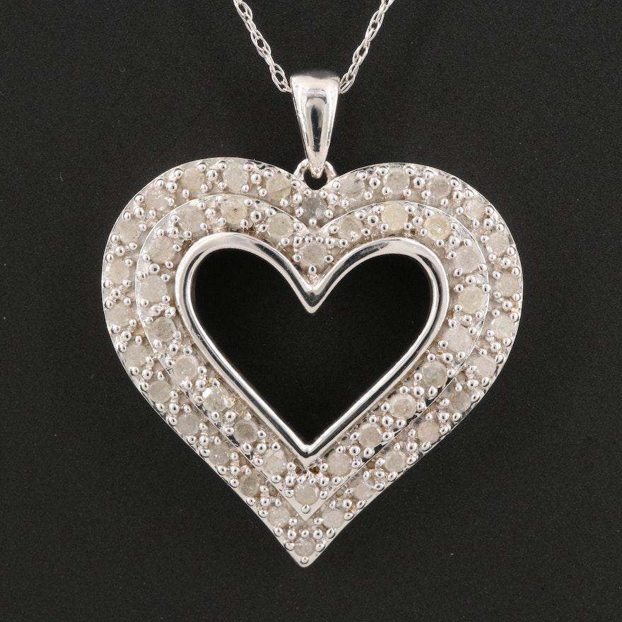 Sterling 1.02 CTW Diamond Double-Row Heart Pendant Necklace