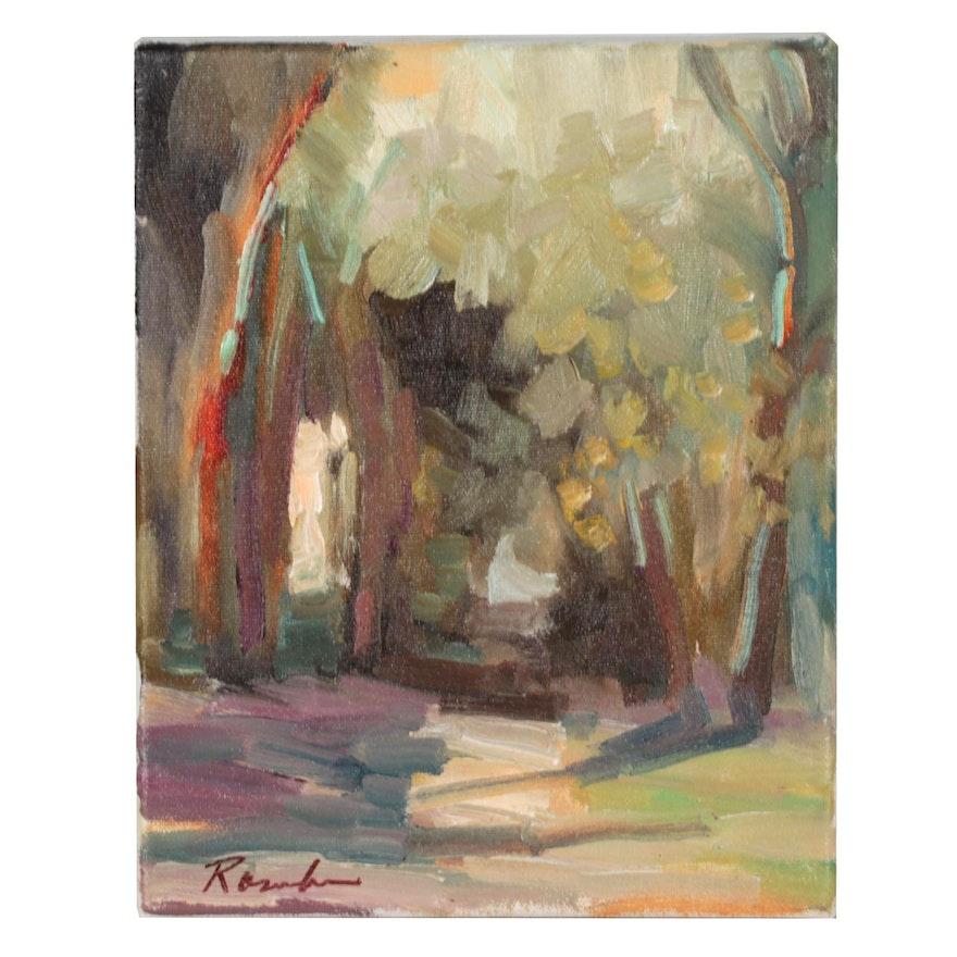 """Sally Rosenbaum Oil Painting """"Eucalyptus Patch"""""""