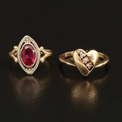 Vintage 10K Ruby Navette and 14K Diamond Heart Rings