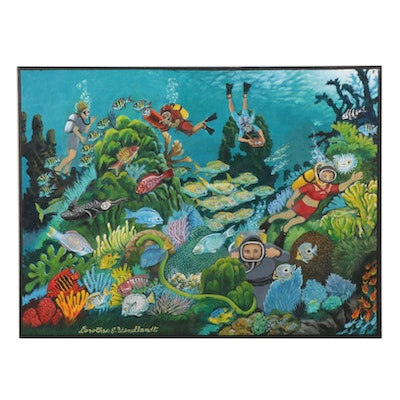 Dorothea S. Wendtlandt Coral Reef Oil Painting of Divers, Circa 2000