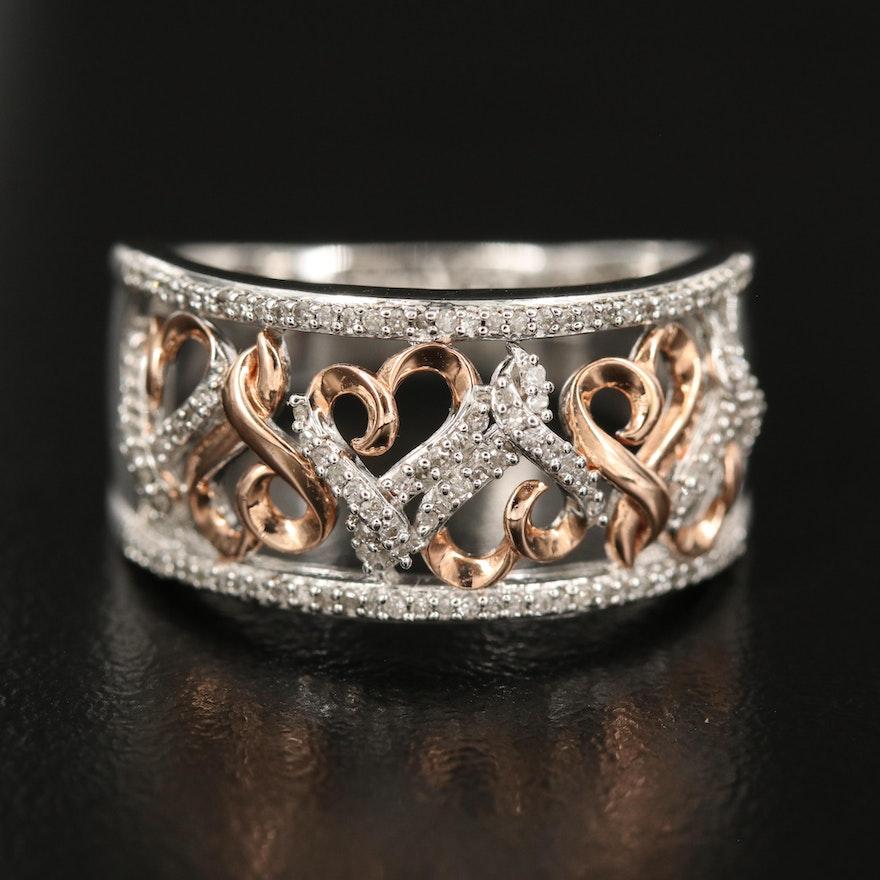 Sterling Diamond Heart Ring