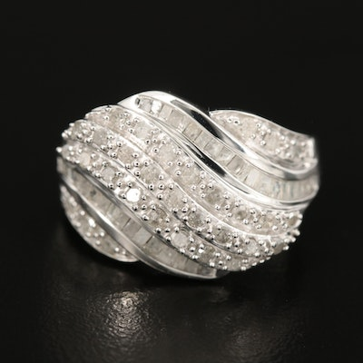 Sterling 1.02 CTW Diamond Wave Ring