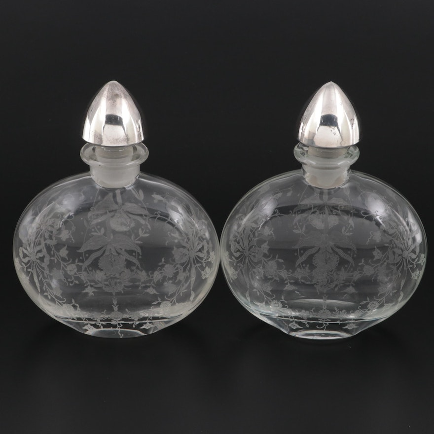 Sheffield Silver Co. Etched Glass and Sterling Silver Decanters