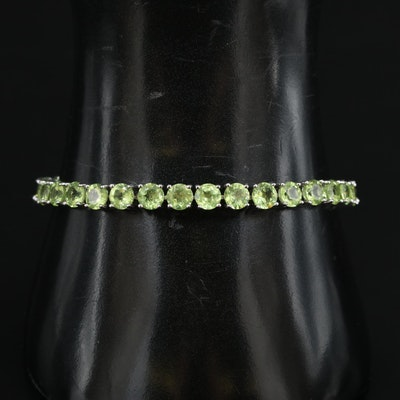 Sterling Peridot Line Bracelet