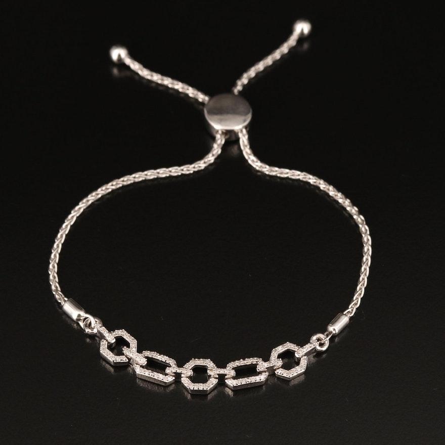 Sterling Diamond Fancy Link Bolo Bracelet