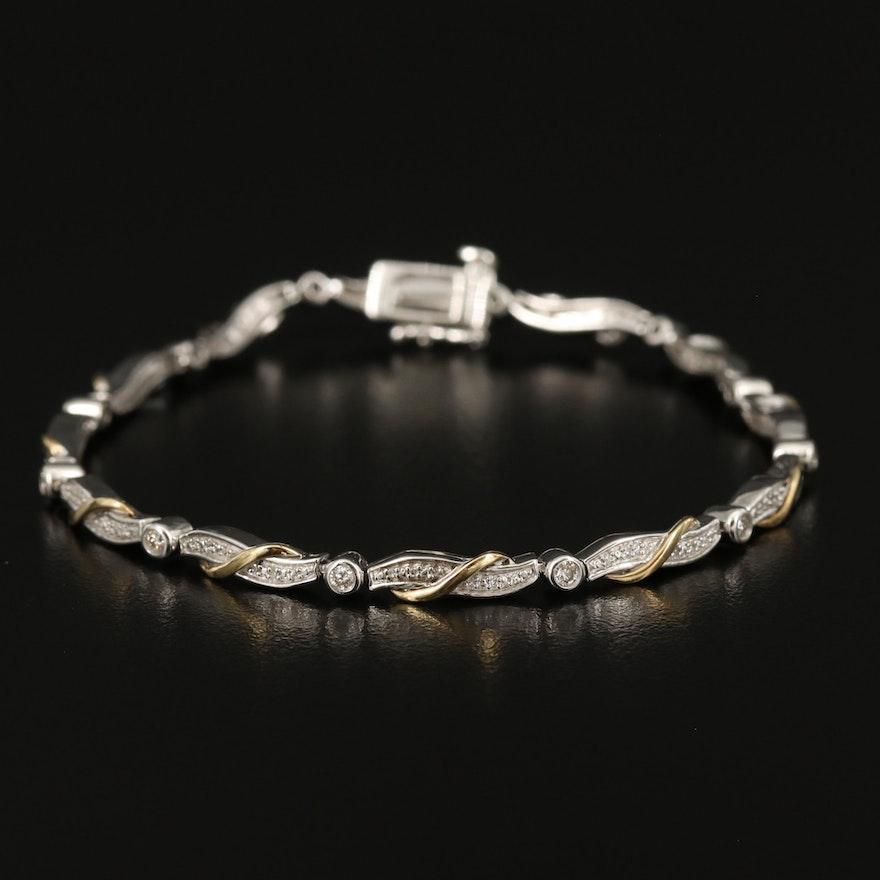 Sterling Diamond Bracelet with 10K Accents