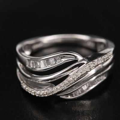 Sterling Diamond Wave Ring
