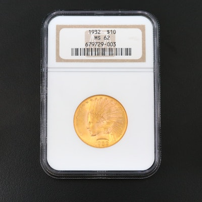 NGC Graded MS62 1932 Indian Head $10 Eagle Gold Coin