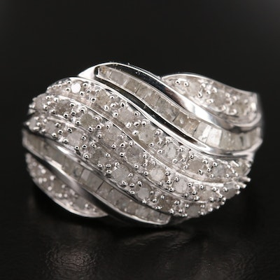 Sterling Diamond Cluster Band