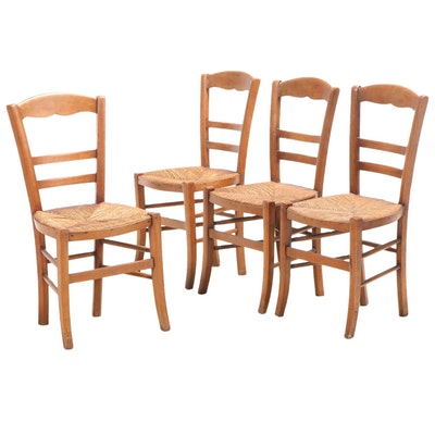 Four French Provincial Beech Side Chairs with Rush Seats
