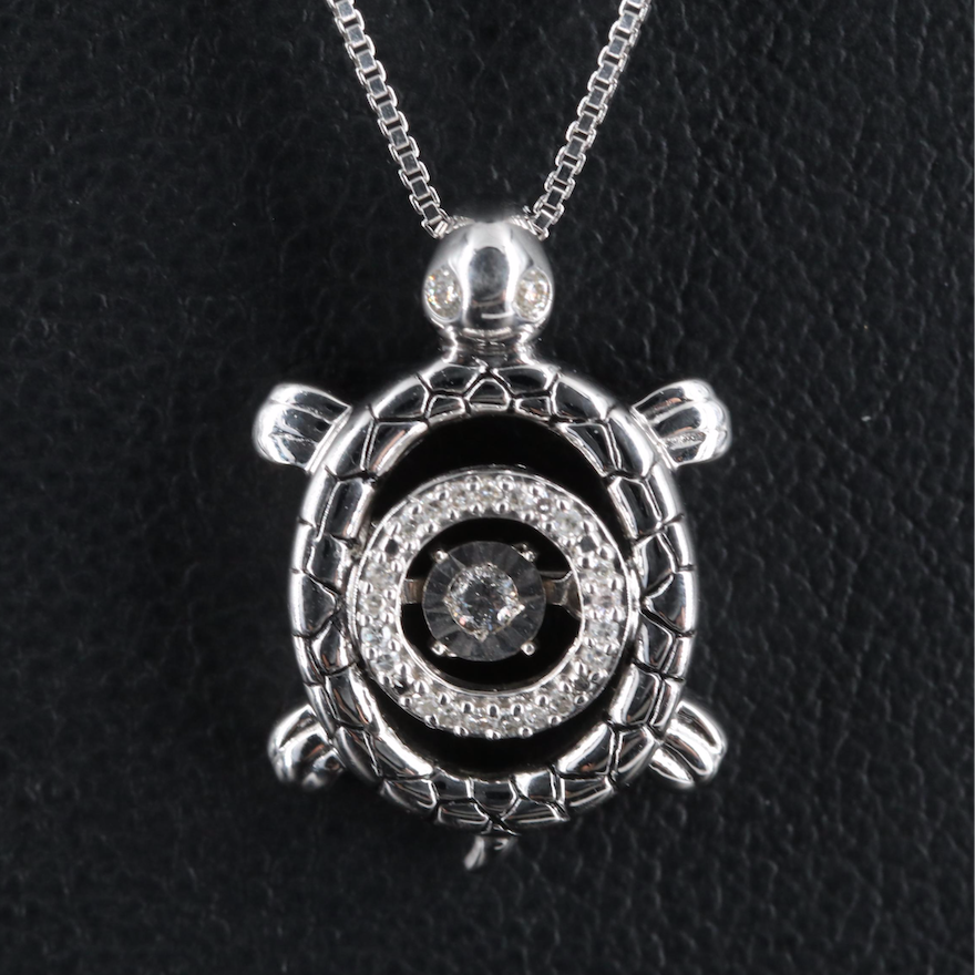 Sterling Diamond Turtle Pendant Necklace with Floating Diamond
