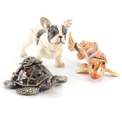 Crystal Studded Enamel French Bulldog, Koi, and Turtle Hinged Boxes