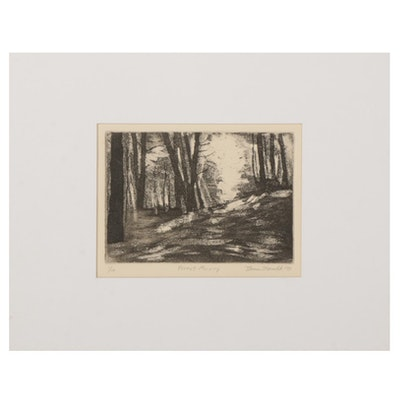 "Thomas Norulak Etching With Aquatint ""Forest Morning,"" 1997"