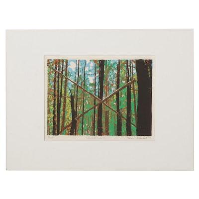 "Thomas Norulak Serigraph ""Cross Branches,"" 1997"