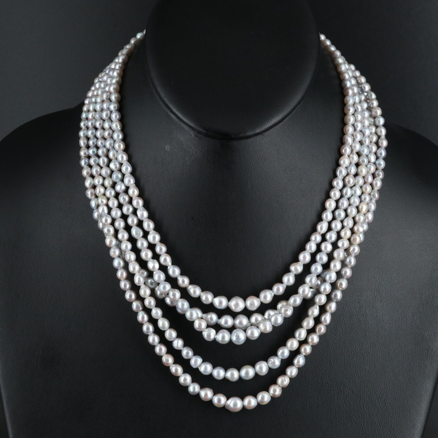 Graduated Pearl Multi-Strand Necklace with Sterling Flower Clasp