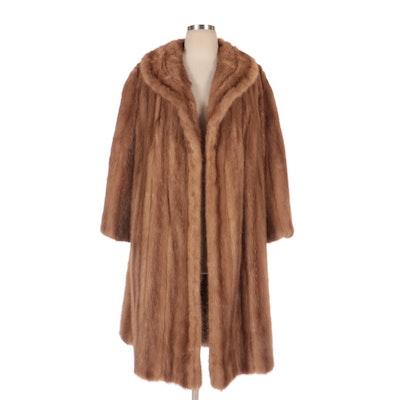 Mink Fur Swing Coat with Shawl Collar
