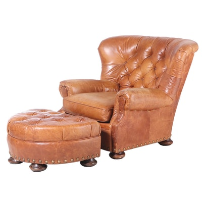 """Sealy Furniture """"Homelife"""" Tufted Leather Armchair with Ottoman"""