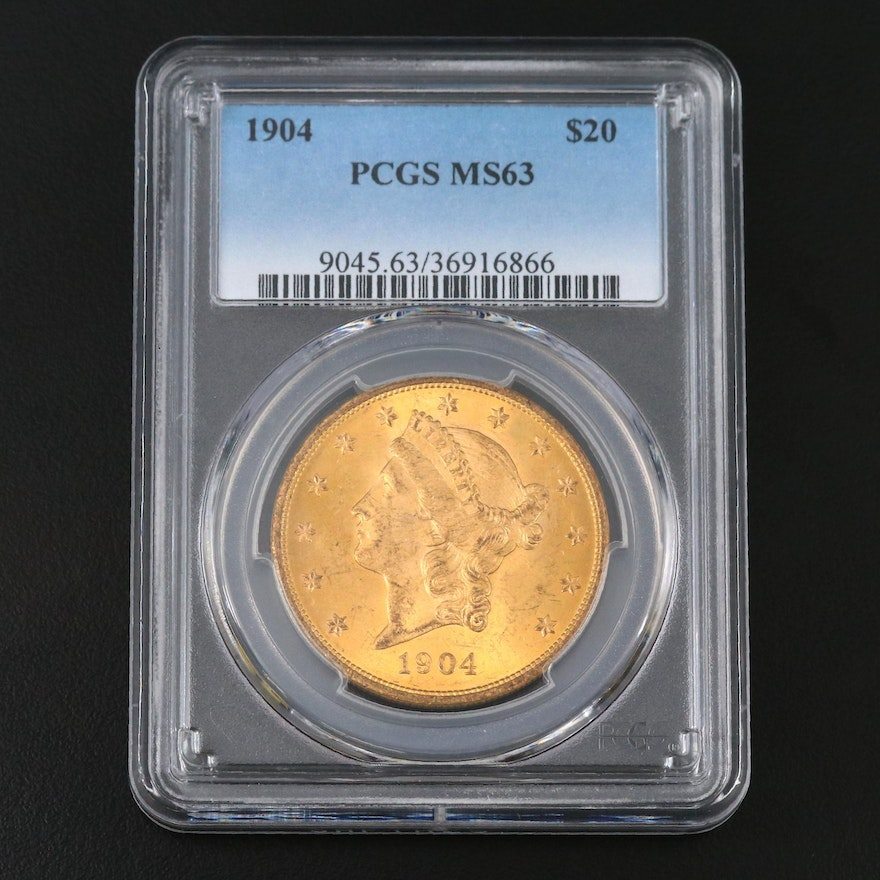 PCGS Graded MS63 1904 Liberty Head $20 Double Eagle Gold Coin