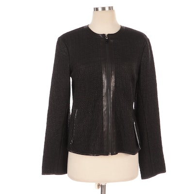 Perforated Leather Zip-Up Jacket with Round Collar, New with Merchant Tag