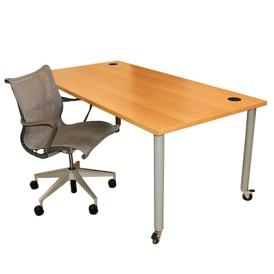 """Design Within Reach Wood and Metal Work Table and Herman Miller """"Setu"""" Chair"""